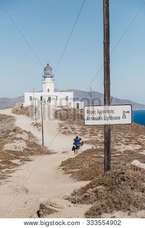 Mykonos, Greece - September 23, 2019: Sign On The Approach To Armenistis Lighthouse In Mykonos, Gree