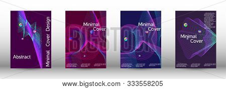 Minimal Vector Cover Design With Abstract Gradient Linear Waves. Cover Design. A Set Of Modern Abstr