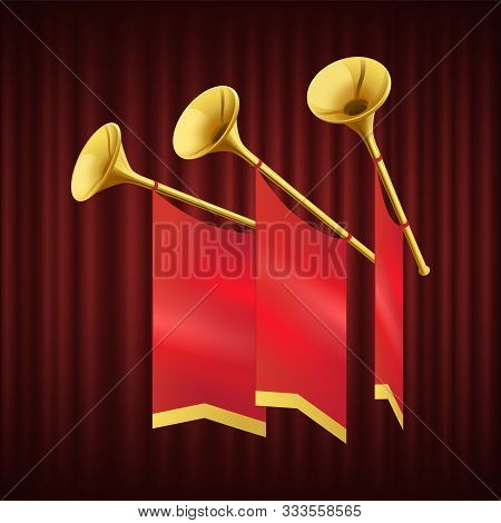 Golden Trumpet With Small Red Flag. Musical Instrument For King Orchestra. Fanfare For Play Music. M