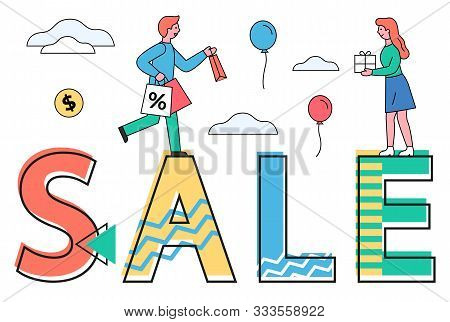 Sale For Shoppers Vector, Proposition For Clients. Man And Woman Holding Paper Bags, People Returnin