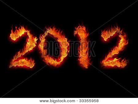 Burning Twenty Twelve Year Apocalypsis Fire On Black 2012