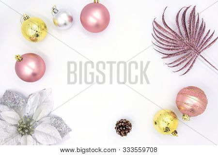 Clean Christmas Flat Lay With Text Space And Fir Tree Decor. New Year Composition On White Backgroun