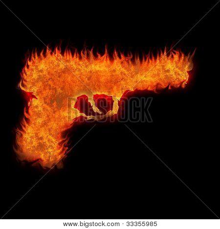 Burning Gun Silhouette Fire On Black Background