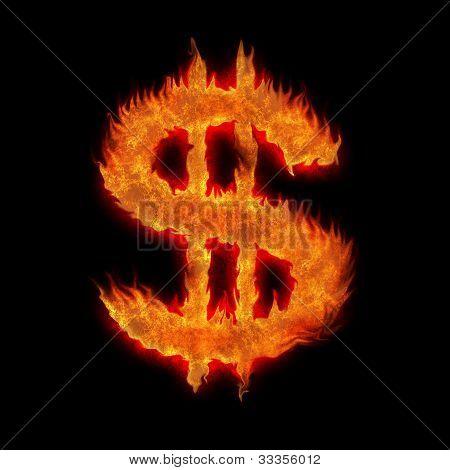 Burning United States Usd Dollar Sign On Black