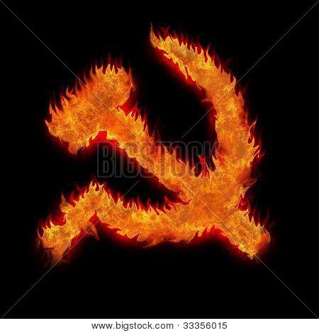 Burning Soviet Union Ussr Fire Sign On Black