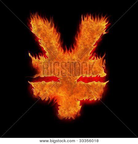 Burning Japan Yen Sign Fire On Black