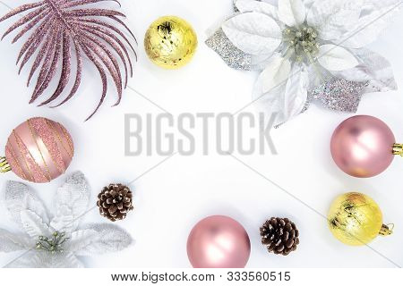 Christmas Flat Lay With Text Space And Fir Tree Decor. Clean And Gentle Christmas Card Background. W