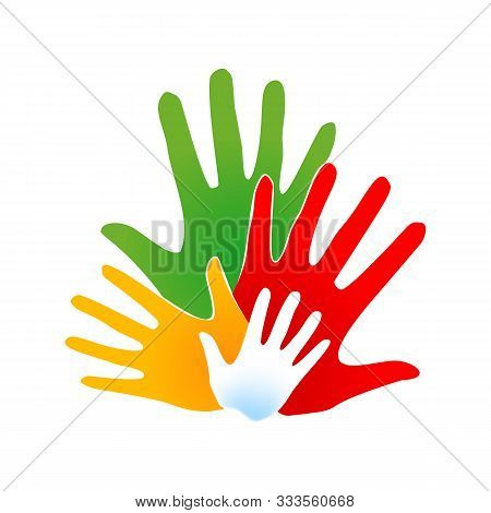 Human Hands, Open Palms. International Community Concept Logotype Template. Friendship Of Peoples Fr