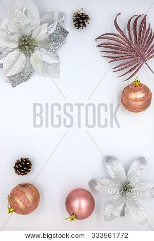 Christmas Vertical Flat Lay With Text Space And Fir Tree Decor. New Year Decoration On White Backgro