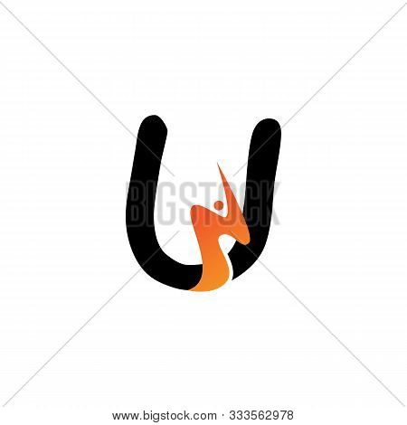 U Letter Logo Fire Creative Concept Template Design