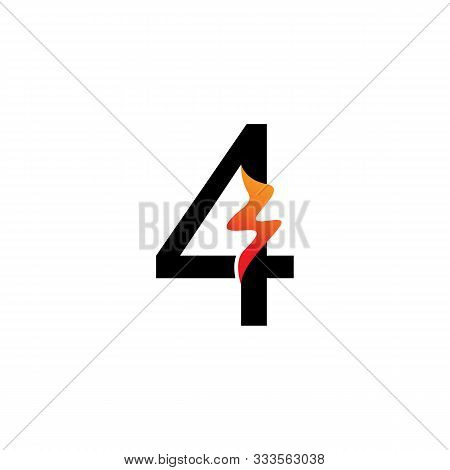 Number 4  Logo Or Symbol Template Design Creative