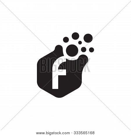 Dots Letter F Logo Vector. F Letter Logo Design With Black. F Logo Vector, Icon Design, Digital Icon