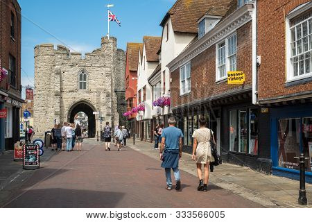 Canterbury, Uk, - July, 11, 2019: Westgate Meets The High Street In The Historic City Centre, Canter