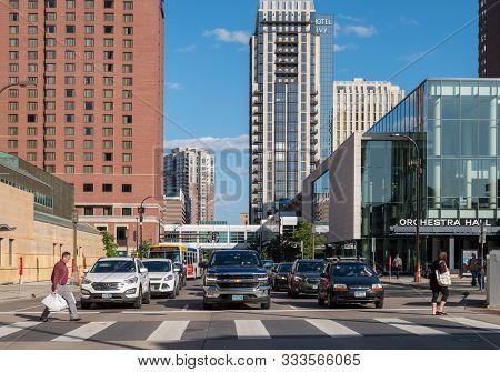Minneapolis, Usa, - August, 8, 2019: Traffic On  S 11th Street, Minnaepolis, Usa.