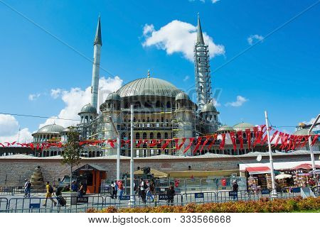 Istanbul, Turkey - September 8th 2019. The Controversial New Mosque In Taksim Square, Still Under Co