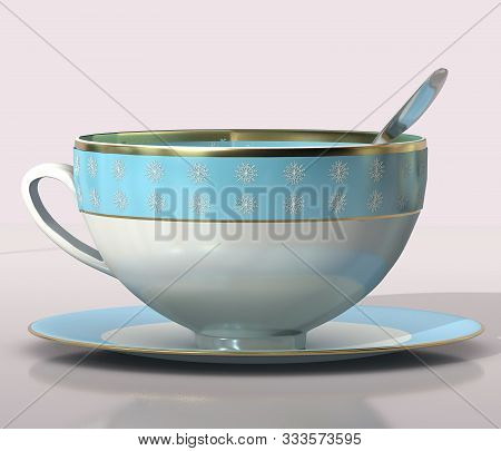 3d Illustration Of Christmas Tea Porcellain Cup With Snowflakes Design And Spoon Close Up