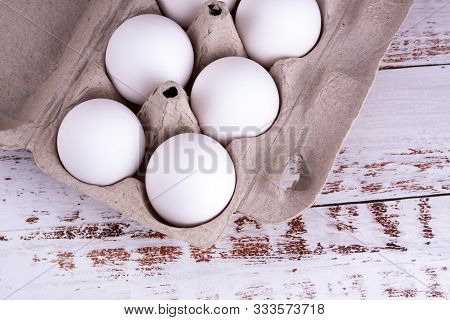 Closeup On Fresh Raw White Eggs As Ingredient