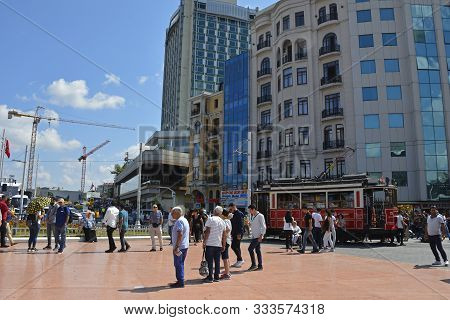 Istanbul, Turkey - September 8th 2019. Tourists Wait To Board The Famous Nostalgic Tram In Taksim Sq