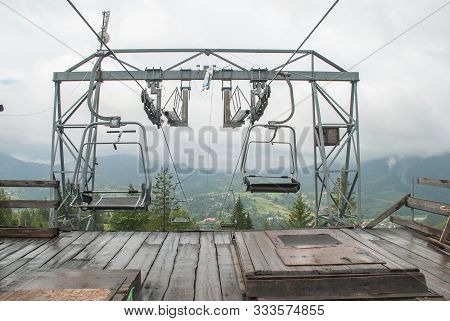 Ski Lift On The Mountain. Backgroundl Andscape