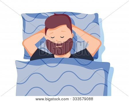 Sleep. A Man Is Sleeping In Bed. Good Night. Vector Illustration In Cartoon Style. Man Is Sleeping S