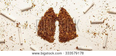 Tobacco For Smoking In Form Of Human Lungs, Cigarettes. Addiction To Smoking, Harm Of Tobacco Smoke.