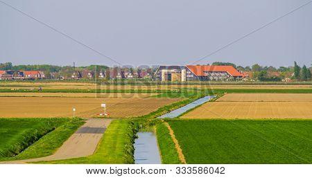 City Skyline From Schakerloopolder In Tholen, Rural Town In Zeeland, The Netherlands