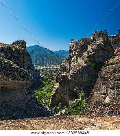 The Monastery Of Varlaam Is The Second Largest Monastery In Meteora Mountains, Thessaly, Greece. Pan