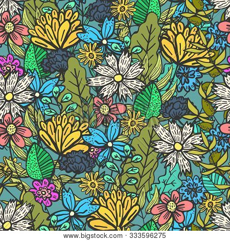 Bright Green Doodle Floral Seamless Pattern With Mess Of Color Flowers And Leaves. Childish Summer T