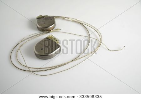 An Implantable Cardioverter Defibrillator Or Icd Pacemaker With Leads. This Is Placed In The Chest T