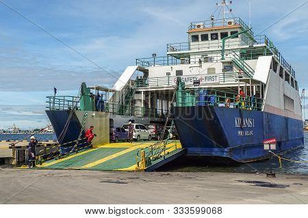 Labuan,malaysia-june 3,2019:ferry Ship Transporting People & Cars From Labuan Island To Menumbok,sab