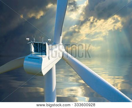 Wind turbine against stormy sky as a metaphoric expression for climate change. Power plant close up. Sustainable development and electricity theme. Aerial view to windmill on sea.