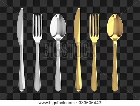 Golden And Silver Fork, Knife And Spoon. Realistic Vector Cutlery Illustration.