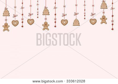 Christmas Background With Gingerbread Cookies, Gingerbread Men And Stars. Festive New Year Design.