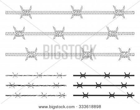 Mesh Barbwire Fence Model With Triangle Mosaic Icon. Wire Frame Triangular Mesh Of Barbwire Fence. V