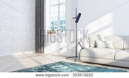 Living Room Interior In Scandinavian Style . 3d Rendering