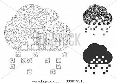 Mesh Cloud Dissipation Model With Triangle Mosaic Icon. Wire Frame Triangular Mesh Of Cloud Dissipat