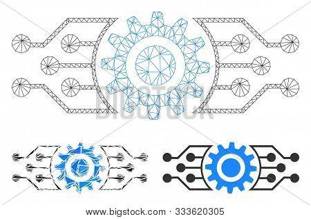 Mesh Digital Cog Model With Triangle Mosaic Icon. Wire Frame Triangular Mesh Of Digital Cog. Vector