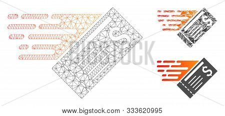 Mesh Express Cheque Model With Triangle Mosaic Icon. Wire Carcass Polygonal Mesh Of Express Cheque.