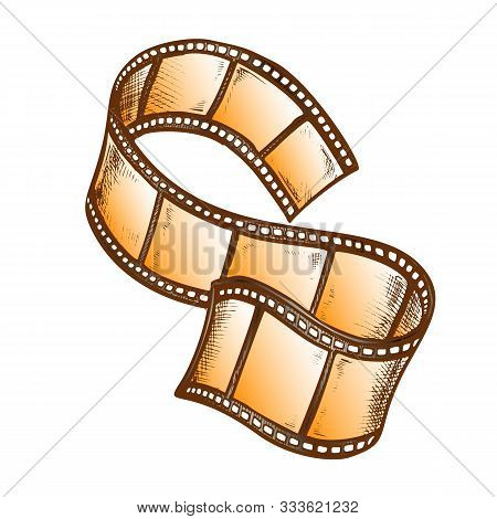 Film Strip For Cinema Projector Color Vector. Obsolete Classical Blank Film Frames. Cinematography C