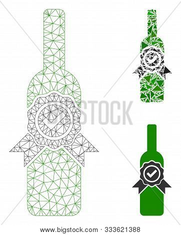 Mesh Finest Wine Model With Triangle Mosaic Icon. Wire Frame Triangular Mesh Of Finest Wine. Vector