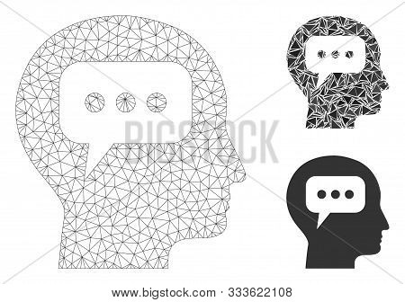 Mesh Head Opinion Model With Triangle Mosaic Icon. Wire Carcass Polygonal Mesh Of Head Opinion. Vect