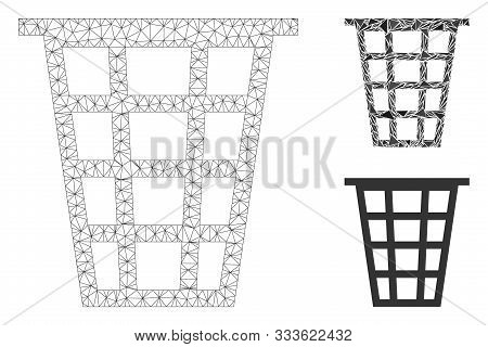 Mesh Junk Model With Triangle Mosaic Icon. Wire Frame Polygonal Mesh Of Junk. Vector Mosaic Of Trian