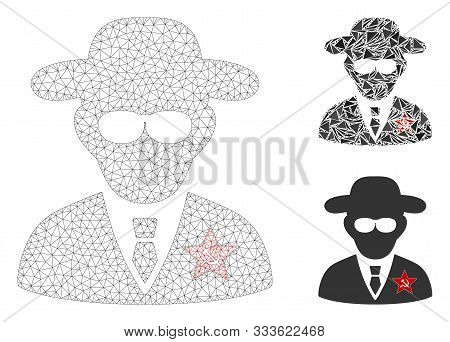 Mesh Kgb Spy Model With Triangle Mosaic Icon. Wire Carcass Polygonal Mesh Of Kgb Spy. Vector Collage