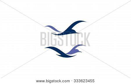 Beach Bird Logo Icon Vector Symbol Simple