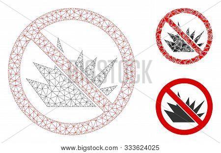 Mesh No Bang Model With Triangle Mosaic Icon. Wire Carcass Polygonal Mesh Of No Bang. Vector Composi