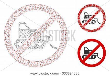 Mesh No Bulldozer Model With Triangle Mosaic Icon. Wire Carcass Triangular Mesh Of No Bulldozer. Vec