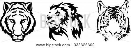 Tiger Icon On White Background Wild Life, Wildcat, Wildlife, Zoo