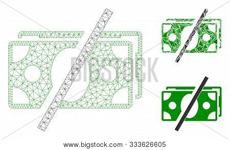 Mesh No Fees Model With Triangle Mosaic Icon. Wire Carcass Triangular Mesh Of No Fees. Vector Collag