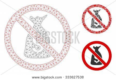 Mesh No Funds Model With Triangle Mosaic Icon. Wire Carcass Triangular Mesh Of No Funds. Vector Mosa