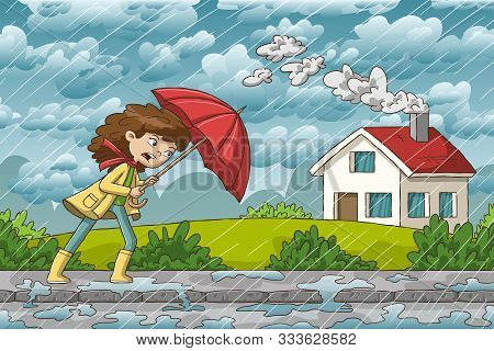 Woman Walks Trough The Rain. Hand Drawn Vector Illustration With Separate Layers.